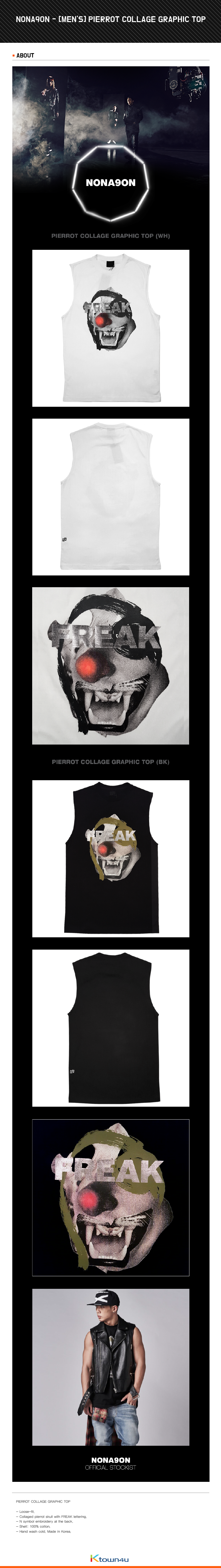 [iKON BOBBY] NONA9ON - [MEN'S] PIERROT COLLAGE GRAPHIC TOP